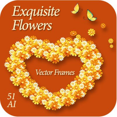 Exquisite Flowers Vector frames - Рамки и Уголки