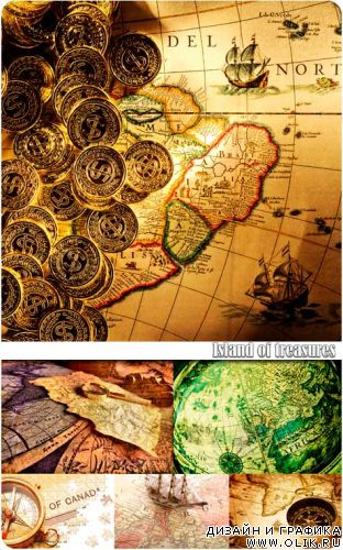 Island of treasures, old maps