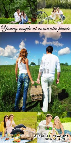 Stock Photo: Young couple at romantic picnic