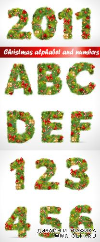 Christmas tree alphabet and numbers