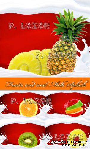 Fruits and and Milk Splash - Stock Photos