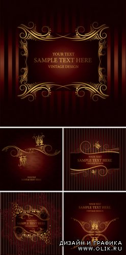 Golden Design Elements Vector 3