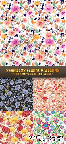 Stock Vector - Seamless Floral Patterns