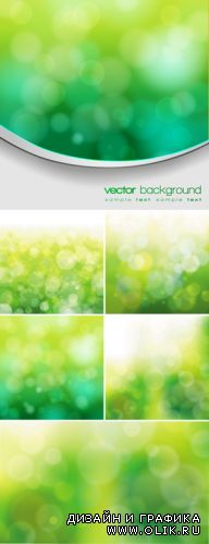 Green Nature Bokeh Backgrounds Vector