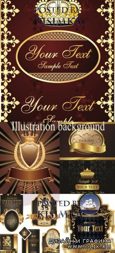Stock: Illustration background with golden luxury label