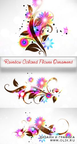 Rainbow Colored Flower Ornament
