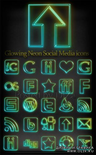 Glowing Neon Social Media icons