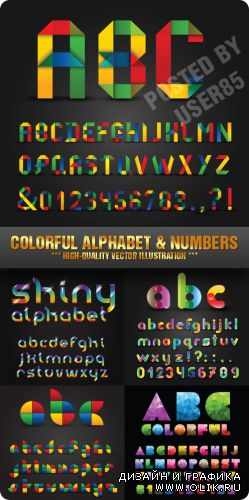 Stock Vector - Colorful Alphabet & Numbers