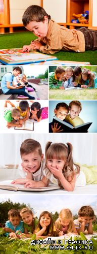 Stock Photo - Children reading the book