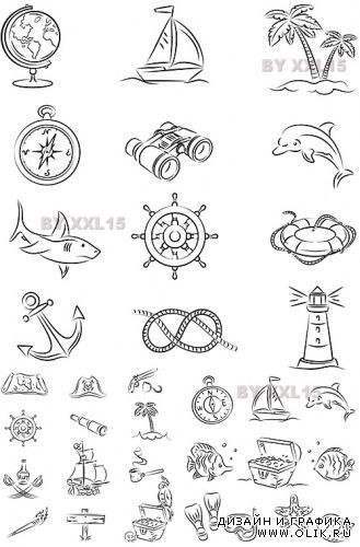 Sketch sea icons