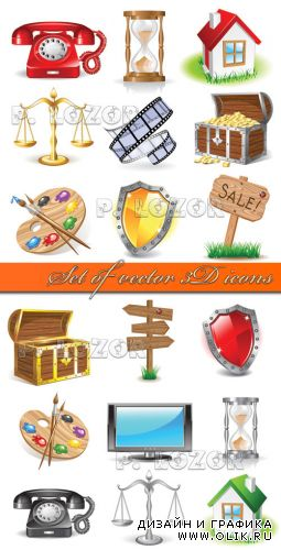Set of vector 3D icons