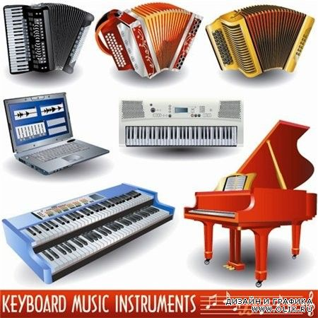 Stock Vectors-KeyBoard Music Instruments