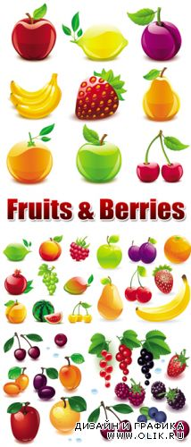 Glossy Fruits & Berries Vector