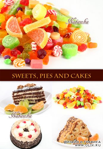 Sweets, pies and cakes - Stock Photo