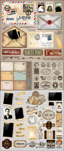 Vintage Elements & Postcards Vector