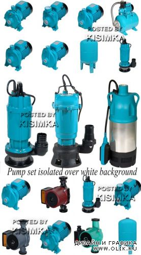 Stock Photo: Pump set isolated over white background