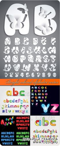 Bright colored alphabet vector - Цветной алфавит