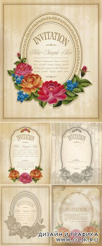 Vintage Invitations with Flowers Vector