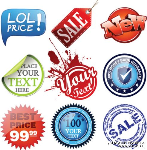 Beautiful Label and Stickers Vector
