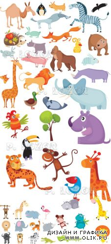 Funny animals vector set 4