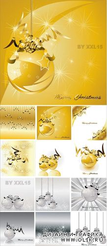 Golden and silver christmas backgrounds