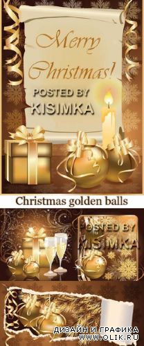 Stock: Christmas greeting card with golden balls