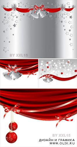 Christmas backgrounds with red curtains