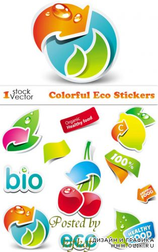 Colorful Eco Stickers Vector