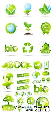 Eco Icons & Stickers Vector Collection