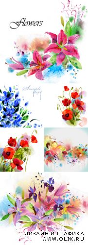 Stock Photo - Watercolor Flowers