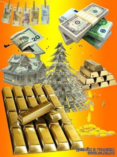 Vector Clip Art - Gold and Money