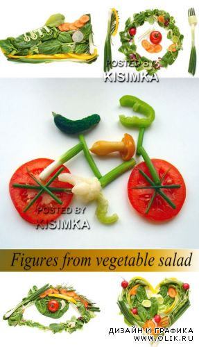 Stock Photo: Figures from vegetable salad