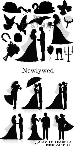 Stock: Newlywed silhouette