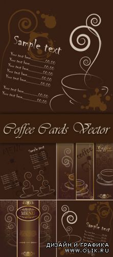 Brown Coffee Cards Vector
