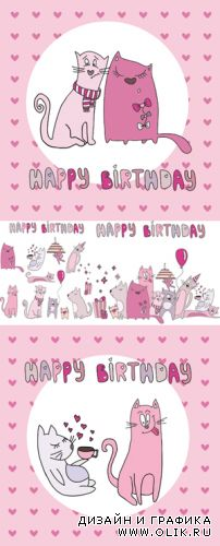 Birthday Cards with Cute Cats Vector