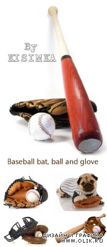 Stock Photo: Baseball bat, ball and glove