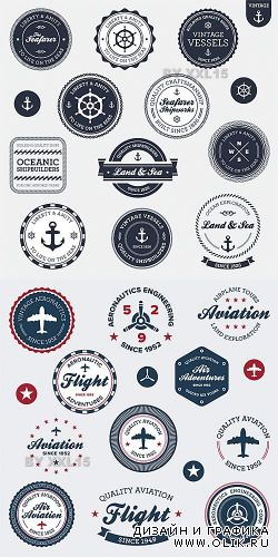 Vintage aviation and nautical labels