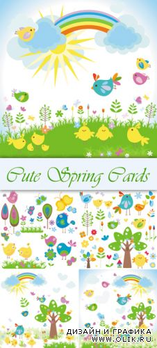 Cute Spring Cards Vector