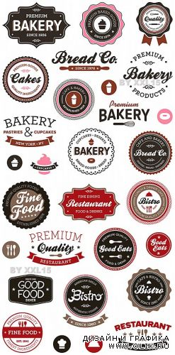 Vintage restaurant and bakery labels