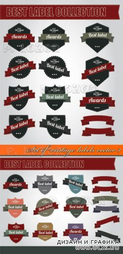 Витнажные этикетки | Set of vintage labels vector 3
