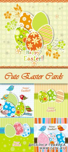 Cute Easter Cards Vector