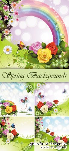 Spring Backgrounds Vector 4