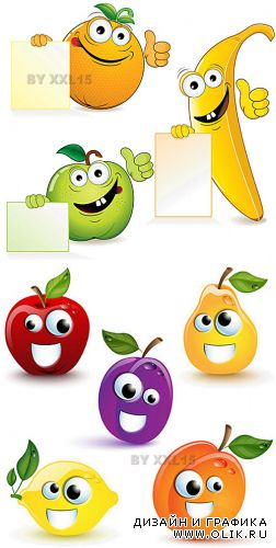 Funny cartoon fruits