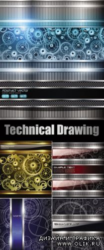Technical Drawing Metallic Backgrounds Vector