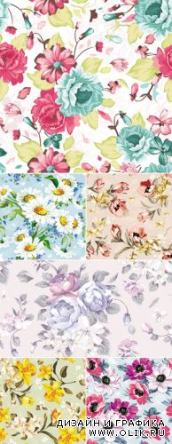 Color Floral Backgrounds Vector