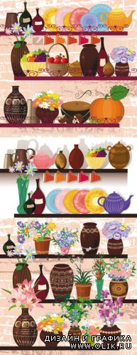 Shelves with Products & Flowers Vector