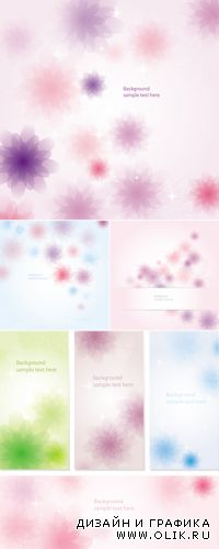 Abstract Floral Backgrounds & Banners Vector