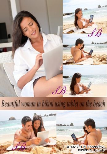 Stock Photo: Beautiful woman in bikini using tablet on the beach
