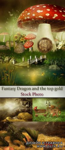 Stock Photo: Fantasy Dragon and the top gold