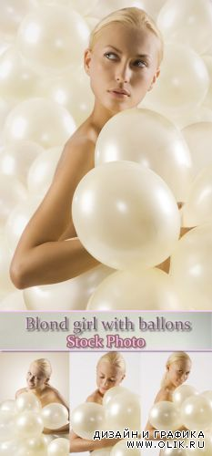 Stock Photo: Blond girl with ballons